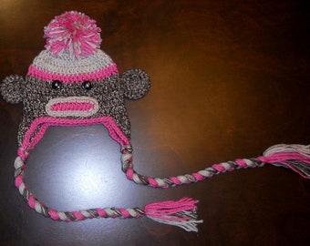 Pink Sock Monkey Earflap Handmade Crochet Beanie Hat Baby Girl Photo Prop Custom Made