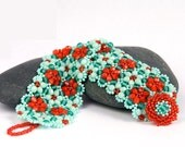 Flower Beaded Bracelet - Dynamic Teal and Red-Orange Beadwoven Crystal Cuff