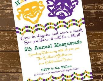Mardi Gras Invitation, Mardi Gras Mask Invitation, Mardi Gras Invite, Happy Mardi Gras, New Orleans, Parade, Mardi Gras Ball, Digital File