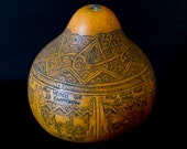 Incredible Hand Etched Peruvian Story Gourd