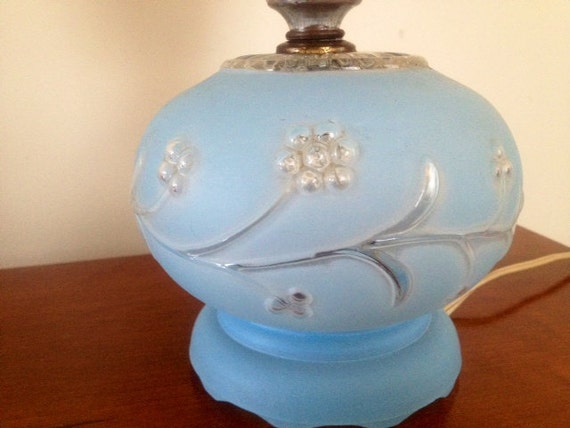 1950 S Blue Glass Boudoir Table Lamp Frosted Glass Shade