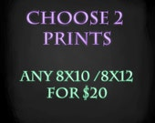 LIMITED OFFER - Choose any 2 - 8x10/8x12 digital art prints - July only sale promotion