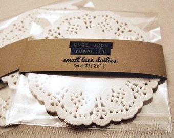 "Small Doilies White 3.5"" Set of 30 Gift Wrap Gift Embellishment"