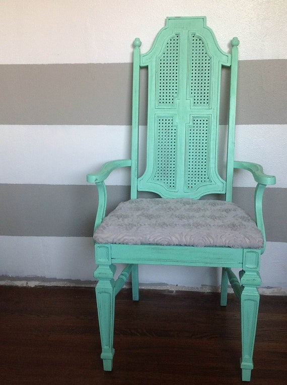Distressed Mint Green Cane Chair