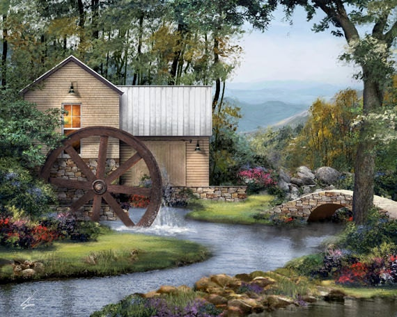 Old Mill - 8 x 10 landscape architectural art painting print