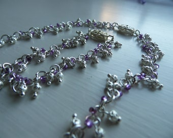 Purple and silver bracelet, necklace and earrings set