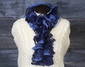 blue ruffle scarf