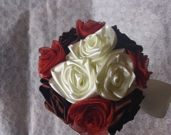 Small ribbon rose bouquet, autum colours