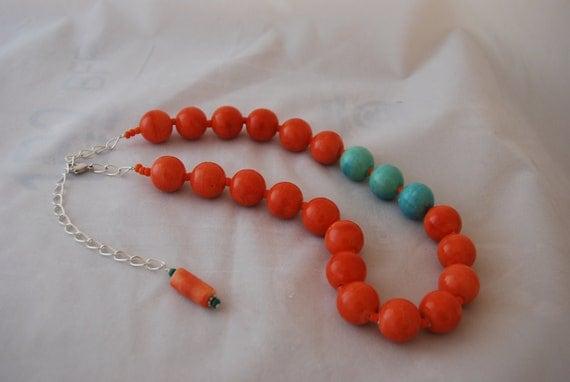 Statement Necklace Chunky Orange and Turquoise Ceramic Beaded Necklace Bold