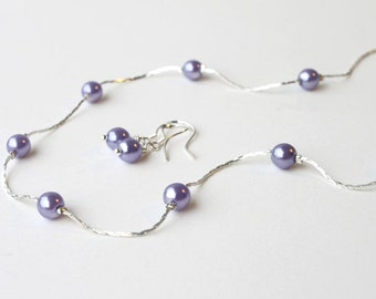 Pearl Set (13 COLORS Available) Bridesmaids gift, Flower girl necklace, Bridal Party. Pearl Necklace and Earrings