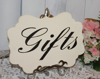GIFTS Sign/Photo Prop/U Choose Colors/Great Shower Gift/Gift Table/Black/Ivory/Wood Sign/Wedding Sign/Fancy