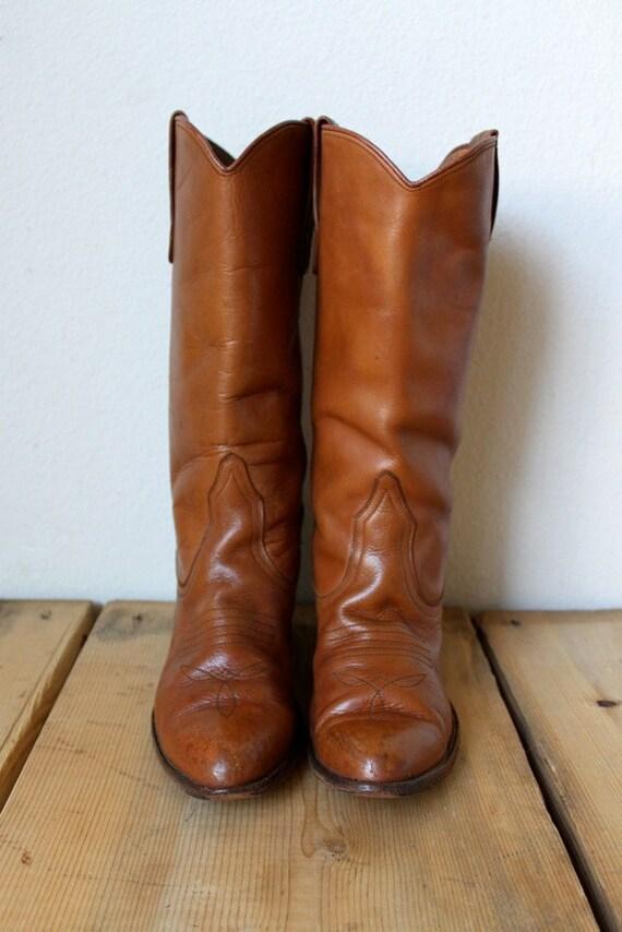Vintage 1970's Tan Leather Cowboy Boots