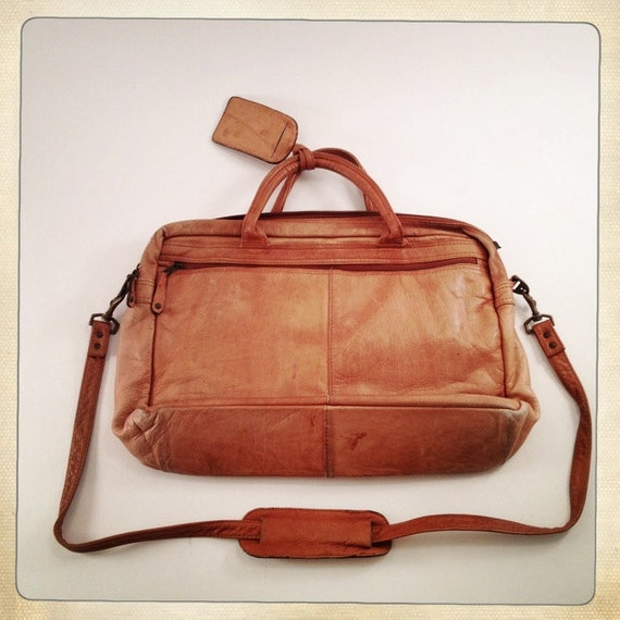 vintage leather messenger bag briefcase soft sided warm camel color