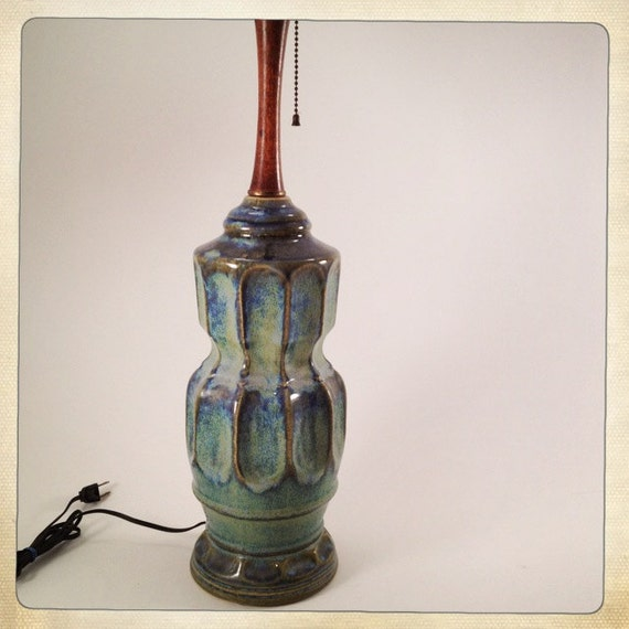 Vintage Ceramic Lamp Mid Century Blue Aqua Green Wood Pull