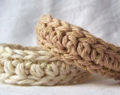 Fiber Bangle Bracelets with Soft Metallic Thread Cotton Crochet Neutral Colors Set of Two Ready to Ship