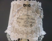 PERSONALISED Lampshade - White Vintage Lace NAME Lamp-Shabby Chic Rose Table Lamp-Special Gifts-Crystal Lamp-Handcrafted by HomeChiqueHome