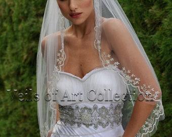 Designer One Tier Beaded Bridal Veil Fingertip Style VE307 by Veils of Art