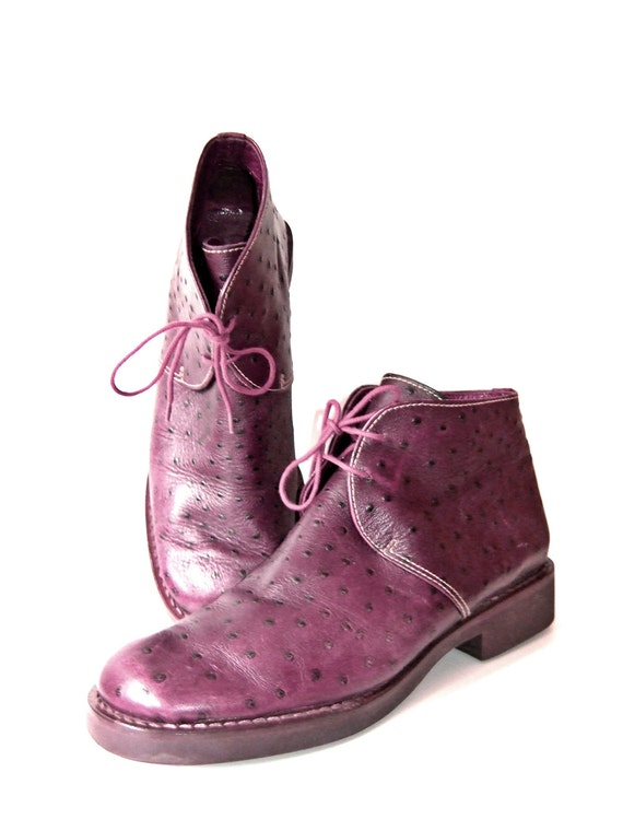 Vintage purple 80s Ilga Buckle Ankle Boots