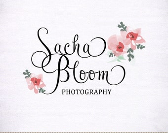 Photography Logo Hand Drawn Blooms Custom Swash Text for Photographer and Boutique