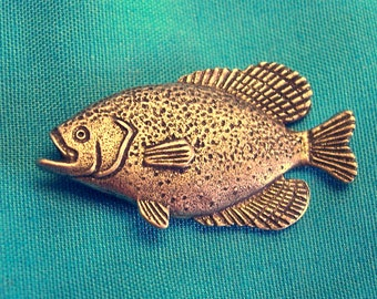 Crappie, Sun Fish, Clutch Back Pin, Handmade, Lead Free Pewter, Gold Plate