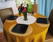 vintage mustard yellow round tablecloth. autumn decor