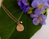 Gemini Necklace - small gold Gemini Zodiac Pendant on 14k Gold Filled Chain with Turquoise or CHOOSE GEMSTONE - Tiny Dainty