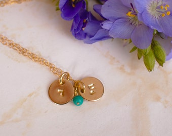 Chai Necklace - Tiny Gold Filled Chai Necklace with Hebrew Initial and gorgeous Turquoise or your favorite Gemstone - Bat Mitzvah Gift