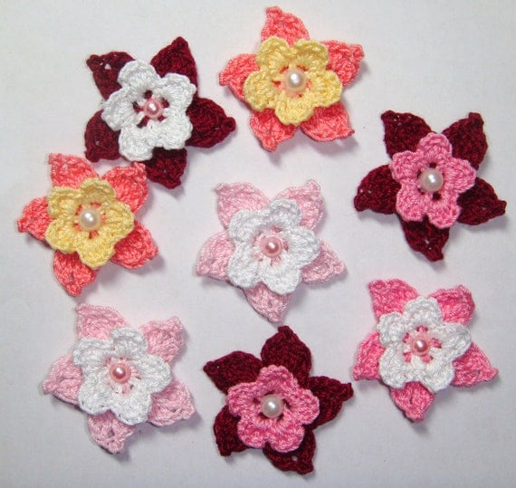 Beautiful Crochet Flower With Pearl Centers Set Of 8
