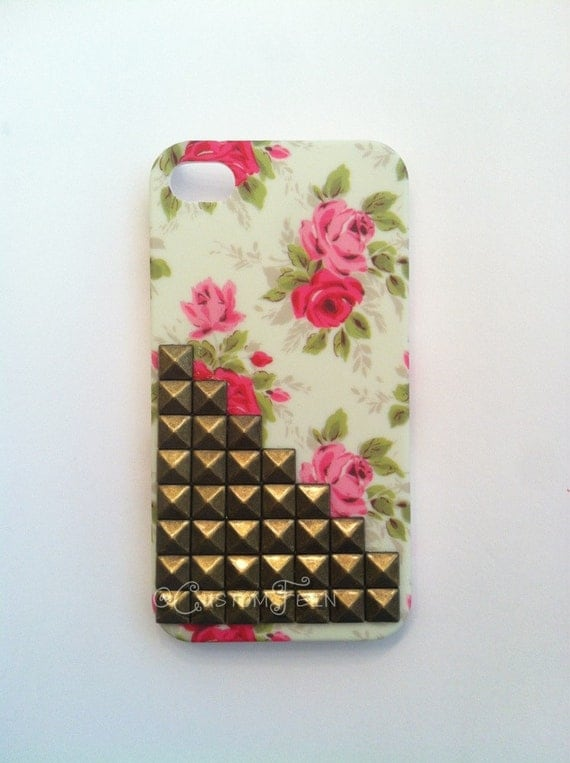 Custom Studded Floral iPhone Case