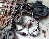 Brown and silver beaded necklace