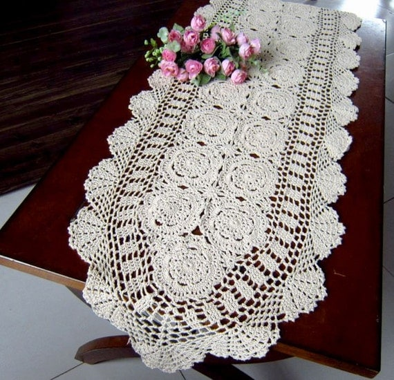Crochet Free Pattern Table Runner : Crochet Table runner 40X190CM 16x75 by TableclothShop on Etsy