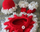 Crochet Christmas Hat, Diaper cover with Skirt and Boots - PDF Pattern
