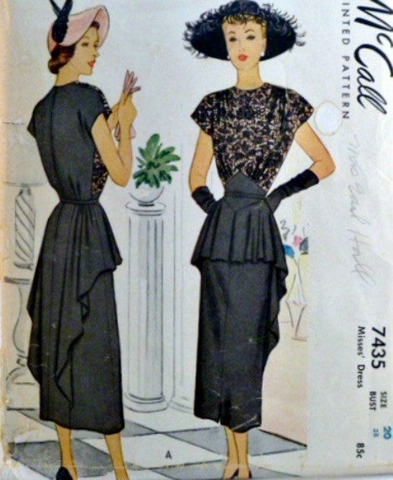 Vintage 40s McCalls Afternoon Evening Dress Lace Overlay with Peplum Pattern 7435 Size 20 Uncut