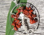 Tree of Life Pendant, Silver Wire Wrapped with Rust Color Stone Beads and Tiny Birds Nest