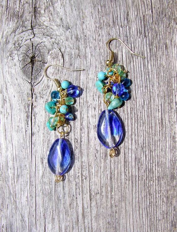 Cluster Dangle Earrings, Mixed Media, Shades of Blue and Green Earrings with Special Teardrop Ombre Blue Glass Bead