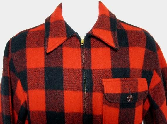 Vintage Woolrich D-Pocket Plaid Wool Hunting Jacket/Coat Sz.S/M 1950's
