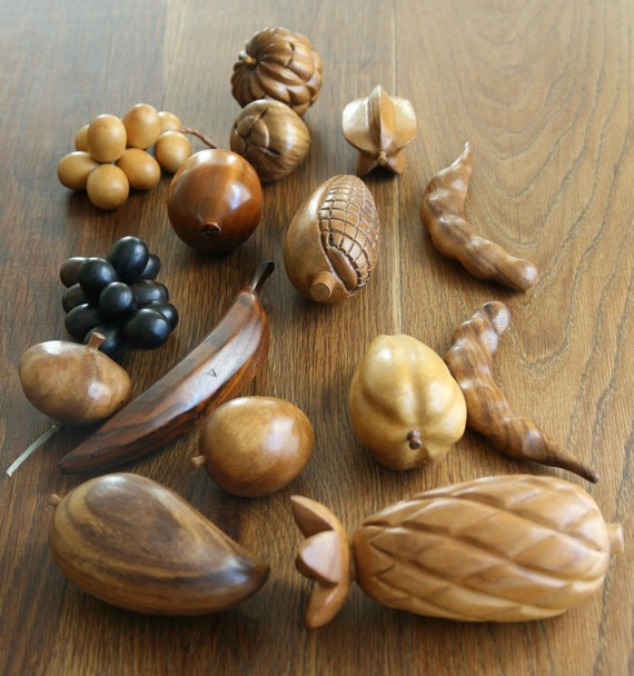 Large set of vintage carved wooden fruit by