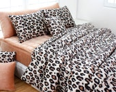 Beige Brown Leopard Microfiber King Duvet Cover Set