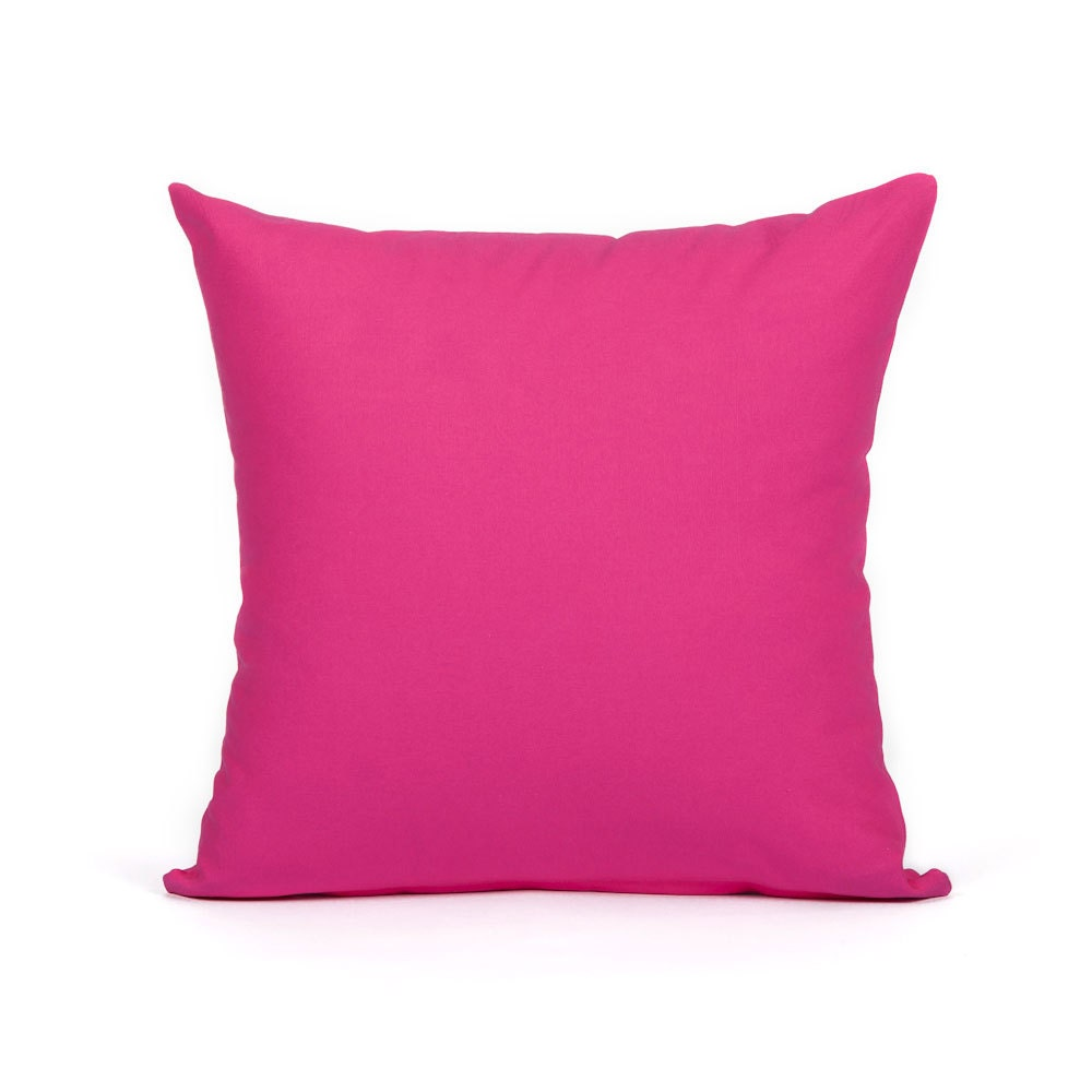 16 X 16 Solid Hot Pink Accent Throw Pillow Cover by BHDecor