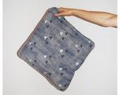 FINAL SUMMER SALE Hand printed linen pillow cover