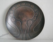Abstract  relief decorated mid century  copper dish / plate
