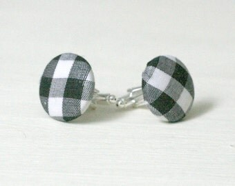 Black and White Button Cufflinks, Black and White Gingham Checked Fabric Cufflinks, Valentines gift for men