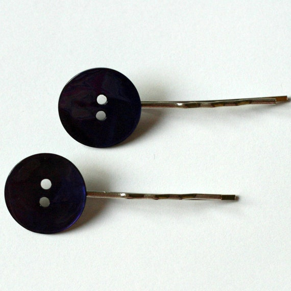 Indigo/Purple Vintage Button Hairslide set