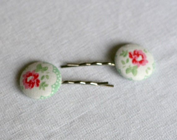 Cath Kidston Green & White Floral Fabric Covered Button Hairslides