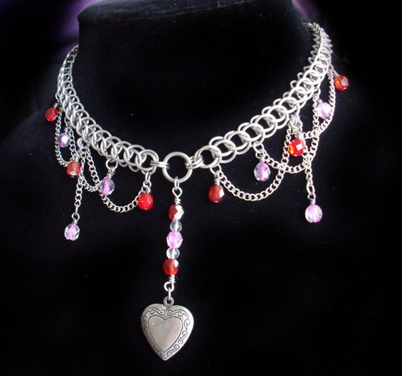 Love you Lots Chainmail Locket Necklace