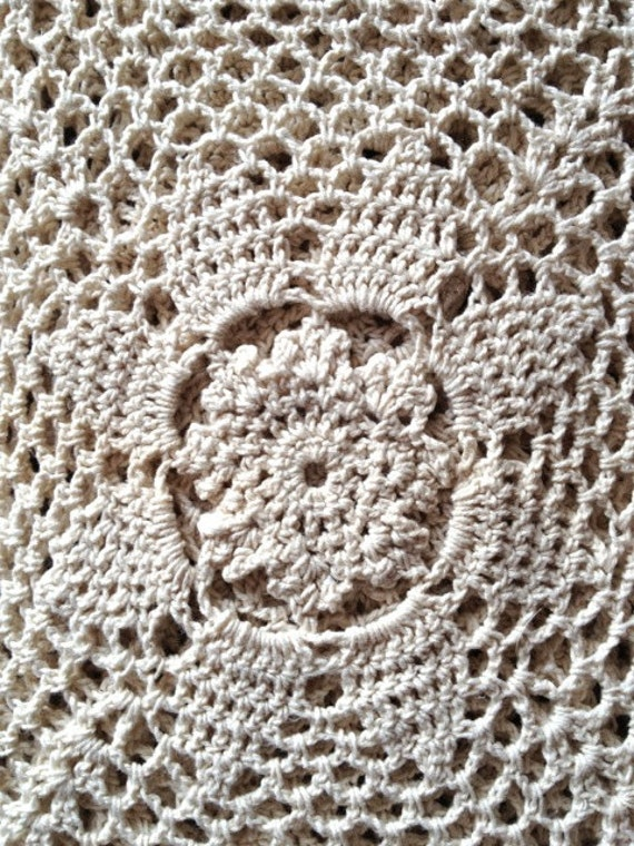 Vintage crochet tablecloth, handmade by grandmother, beige colour, table cloth, table cover, floral crochet