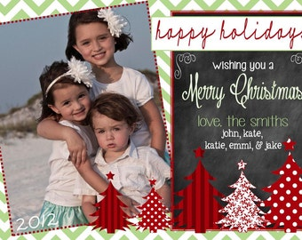 Photo Christmas Card | Chevron Chalkboard | Photo Holiday Card | Digital Christmas Card {L5}