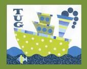 Tug Boat Wall Art, Kid Transportation Decor, Boat Nursery Print 8 x 10 collage print Blue & Green