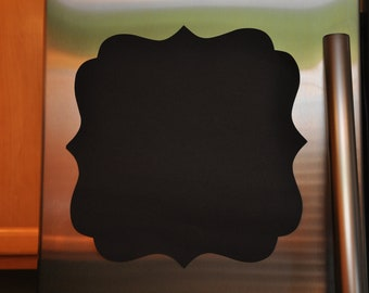 2 Large Chalkboard Vinyl Decal - Scalloped Square