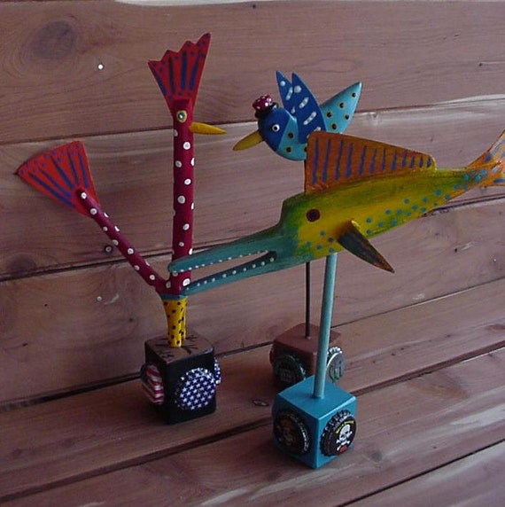 3 Assorted CARVED CHICKEN, Tiki FISH, Blue Bird Old Barn Tin with Bottle Caps,..Outsider Folk Art by WillardJ & RoxaneJ...R8